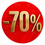 Gold 70 Percent Sign on Red. Gold 70 Percent Sign on Shabby Red Circle with Shadow, 70% Off Hot Deal and Save Money Sign, Special Offer Banner, Price Tag, -70% Royalty Free Stock Image