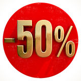 Gold 50 Percent Sign on Red. Gold 50 Percent Sign on Shabby Red Circle with Shadow, 50% Off Hot Deal and Save Money Sign, Special Offer Banner, Price Tag, -50% Stock Photo