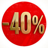 Gold 40 Percent Sign on Red Stock Photos