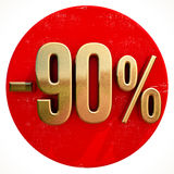 Gold 90 Percent Sign on Red. Gold 90 Percent Sign on Shabby Red Circle with Shadow, 90% Off Hot Deal and Save Money Sign, Special Offer Banner, Price Tag, -90% Stock Photography