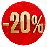 Gold 20 Percent Sign on Red. Gold 20 Percent Sign on Shabby Red Circle with Shadow, 20% Off Hot Deal and Save Money Sign, Special Offer Banner, Price Tag, -20% Royalty Free Stock Photography