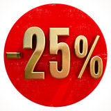 Gold 25 Percent Sign on Red. Gold 25 Percent Sign on Shabby Red Circle with Shadow, 25% Off Hot Deal and Save Money Sign, Special Offer Banner, Price Tag, -25% Stock Photo