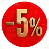 Gold 5 Percent Sign on Red Stock Photo