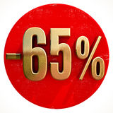 Gold 65 Percent Sign on Red. Gold 65 Percent Sign on Shabby Red Circle with Shadow, 65% Off Hot Deal and Save Money Sign, Special Offer Banner, Price Tag, -65% Royalty Free Stock Image