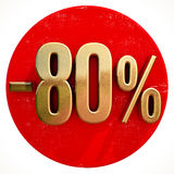 Gold 80 Percent Sign on Red. Gold 80 Percent Sign on Shabby Red Circle with Shadow, 80% Off Hot Deal and Save Money Sign, Special Offer Banner, Price Tag, -80% Stock Illustration
