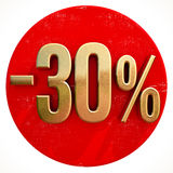 Gold 30 Percent Sign on Red. Gold 30 Percent Sign on Shabby Red Circle with Shadow, 30% Off Hot Deal and Save Money Sign, Special Offer Banner, Price Tag, -30% Royalty Free Stock Photography