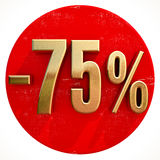 Gold 75 Percent Sign on Red Royalty Free Stock Images