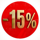Gold 15 Percent Sign on Red Royalty Free Stock Photography