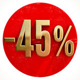 Gold 45 Percent Sign on Red Stock Images