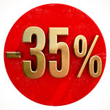 Gold 35 Percent Sign on Red Royalty Free Stock Photography