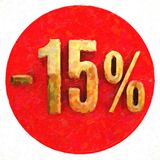 Gold 15 Percent Sign on Red. Gold 15 Percent Sign on Shabby Red Circle with Shadow, 15 Off Hot Deal and Save Money Sign, Special Offer Banner Royalty Free Stock Photos