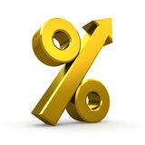 Gold percent symbol with arrow Royalty Free Stock Photos