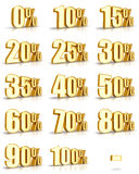 Gold Percent Tags. Complete set of golden percent tags for sales and discounts. Also for the flash animations (loading progress in percent). Gold price tags with stock illustration