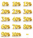 Gold Percent Tags Stock Image