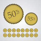 Gold Percentage Off Stickers Royalty Free Stock Photo
