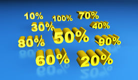 Gold percentage signs. 3D rendering of gold percentage signs Royalty Free Stock Image