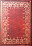 Gold Patterned Red Leather Diary Backdroung Stock Images