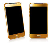 Gold  Phone Cell Smart Mobile. 3D and 2DPhone Cell Smart Mobile Royalty Free Stock Photography