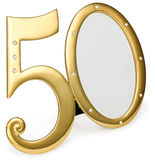 Gold photo frame birthday 50 anniversary of isolation on a white background. gilded frame inlaid stones Royalty Free Stock Photos