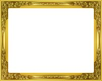 Gold photo frame with corner thailand line floral for picture. Gold photo frame with corner thailand line floral for picture, Vector design decoration pattern Stock Photos