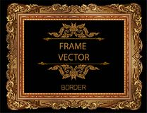 Gold photo frame with corner thailand line floral for picture. Gold photo frame with corner thailand line floral for picture, Vector design decoration pattern Stock Image