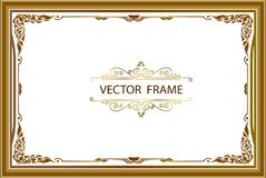 Gold photo frame with corner thailand line floral for picture, Vector design decoration pattern style.frame border design is patte. Rn Thai style Royalty Free Stock Photography