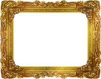 Gold photo frame with corner thailand line floral for picture. Gold photo frame with corner thailand line floral for picture, Vector design decoration pattern Stock Photo
