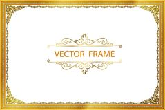 Gold photo frame with corner thailand line floral for picture, Vector design decoration pattern style.frame border design is patte. Rn Thai style Royalty Free Stock Images