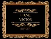 Gold photo frame with corner thailand line floral for picture. Gold photo frame with corner thailand line floral for picture, Vector design decoration pattern Royalty Free Stock Image