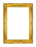 Gold photo frame. Photo frame isolated on white background Stock Images