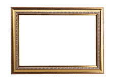 Gold photo frame isolated. On white background Royalty Free Stock Image