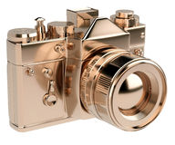 Gold photocamera isolated on white background Royalty Free Stock Photography