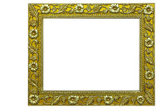 Gold photoframe. On a white background Stock Photo