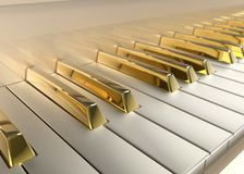 Gold Piano. Detailed Piano with gold keys Royalty Free Stock Photo