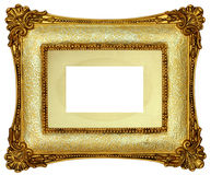 Gold Picture Frame. Gold frame with old photo mount isolated on white background Royalty Free Stock Photos