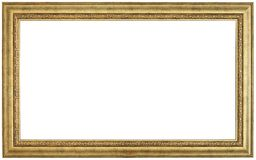 Gold picture frame. Isolated path and over white background Royalty Free Stock Images