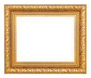 Gold Picture Frame. Gold-colored picture frame, isolated on white royalty free stock images