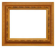 Gold Picture Frame. Gold-colored picture frame, isolated on white stock photography