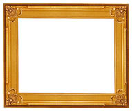 Gold picture frame. Antique golden frame isolated on white background Royalty Free Stock Photos