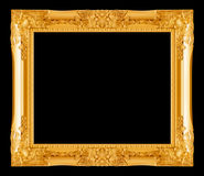 Gold picture frame on black Royalty Free Stock Photos