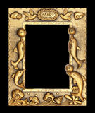 Gold picture frame on black background Royalty Free Stock Photo