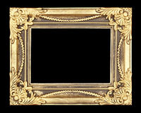 Gold picture frame on black background Royalty Free Stock Image