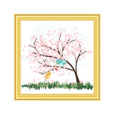 Gold picture frame with cute birds and flower tree vector on white background. Cute birds and pink flower tree designs illustration Royalty Free Stock Image