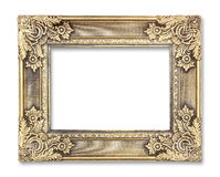 Gold picture frame with a decorative pattern on white background Royalty Free Stock Image