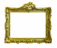 Gold picture frame. Isolated over white Stock Photos