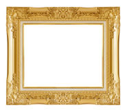 Gold picture frame. Isolated over white background Royalty Free Stock Photography