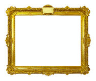 Gold picture frame. Isolated over white Royalty Free Stock Photo