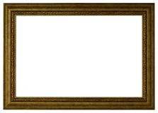 Gold picture frame isolated white stock photography