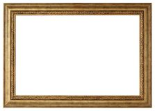 Gold picture frame isolated white stock photos