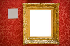Gold picture frame and label with clipping path Stock Images
